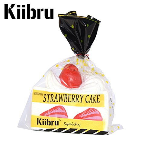 Kiibru Squishy Jumbo Vanilla Strawberry Short Cake Ultra Soft and Slow Rising Sweet Aroma Fusion Kawaii Exclusive