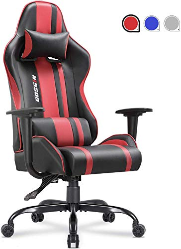 Gaming Office Chair Racing Style Adjustable Height Chair Ergonomics High-Back Chair Swivel PC Computer Chair with Headrest and Lumbar Support Red.