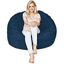 Lumaland Luxury 4-Foot Bean Bag Chair with Microsuede Cover Navy Blue, Machine Washable Big Size Sofa and Giant Lounger Furniture for Kids, Teens and Adults