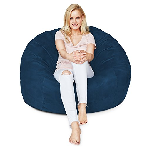 Lumaland Luxury 4-Foot Bean Bag Chair with Microsuede Cover Navy Blue, Machine Washable Big Size Sofa and Giant Lounger Furniture for Kids, Teens and Adults by Lumaland