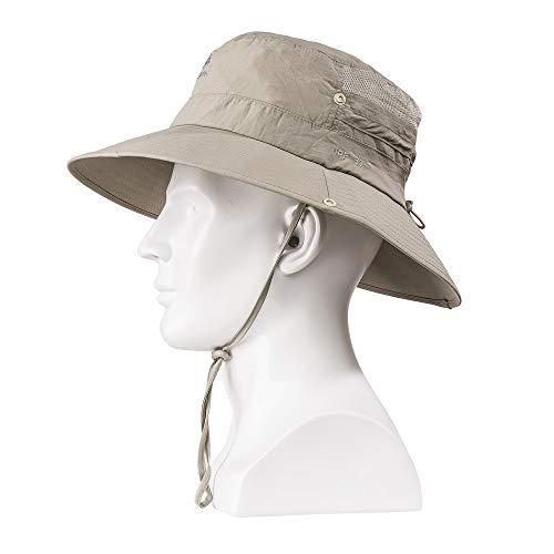 Wide Brim Sun Hat - UV Protection Fishing Hat, Waterproof Boonie Bucket Hat for Men/Women Khaki