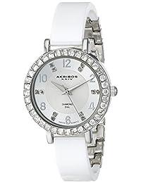 Akribos XXIV Women's AK758SSW Ceramic Analog Display Swiss Quartz White Watch