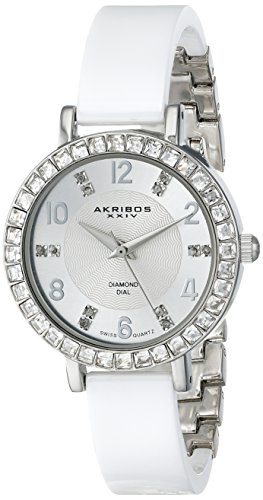 Akribos XXIV Women's Designer Fashion AK758 Ceramic Bangle Watch With Crystal Studded Bezel (Silver) by Akribos XXIV