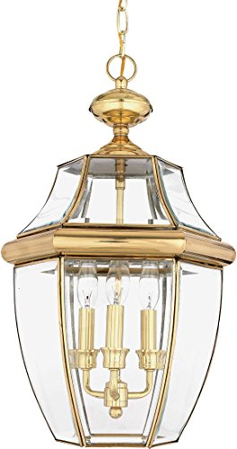 Quoizel NY1179B Newbury Outdoor Pendant Lantern Ceiling Lighting, 3-Light, 180 Watts, Polished Brass (21