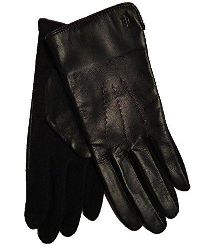 Lauren Ralph Lauren Leather and Wool The Touch Gloves Medium, Black / Purple