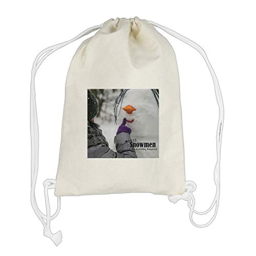 Making Snowman Some Assembly Is Required Cotton Canvas Backpack Drawstring Bag