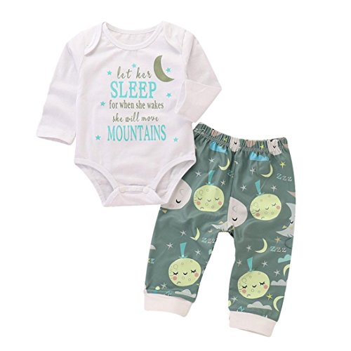 Jchen(TM) for 0-24 Months 2PCS Toddler Baby Boys Girl Letter Print Romper+Star Moon Print Pants Clothes Outfit Sleepwear Sets (Age: 18-24 Months) -