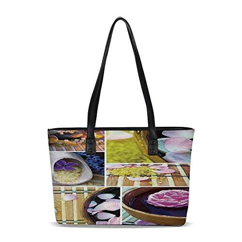Tote Spa Organic (Spa PU Shoulder Tote Bag,Spa Organic Cosmetics Theme Wooden Bowl Petals Lavende)