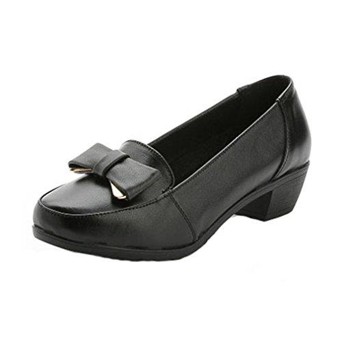 Giy Donna Mocassini Casual Comfort Slip-on Scarpe Stringate A Punta Tacco Medio Pompe A Piedi Scarpe Mocassini Nere
