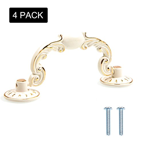 Eliseo 4 Pack Cabinet Hardware Handle Pull - Ivory White with Gold Edge, 3-4/5