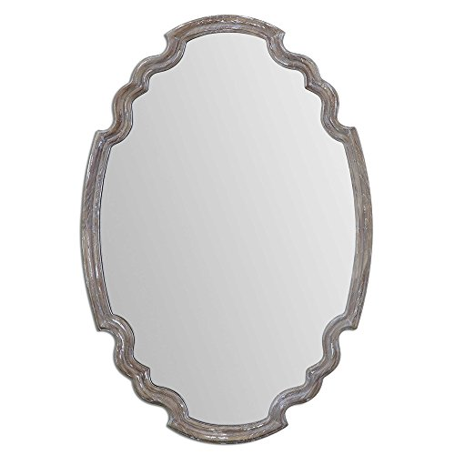Sculpted Oval Gray Wood Wall Mirror | Rustic Cottage Vanity