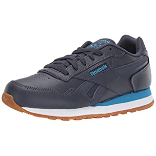 Reebok Men's Classic Harman Run Sneaker, Heritage navy/cyan/white, 3.5 M US