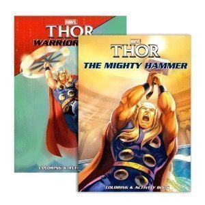 Marvel Thor Set of 2 Coloring & Activity Books 96 Page Each Includes: 'Warrior Hero' & 'The Mighty (Joy Coloring Page)