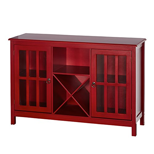 Collection Bar Cabinet - Target Marketing Systems Portland Collection Wine Buffet With Two Cabinets, One Shelf and 4 Bottle Wine Rack, Red