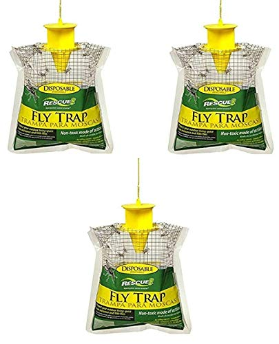 RESCUE! Sterling Outdoor Disposable Fly Catcher, Control Trap with Attractant, Insecticide Free (4 Pack)