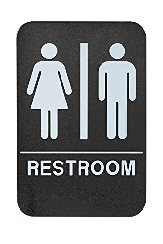 Alpine Industries Unisex Bathroom Restroom Sign, Black/White, ADA Compliant 6