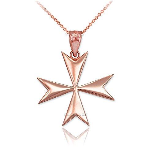 14K Rose Gold Polished Maltese Cross Pendant Necklace (22)