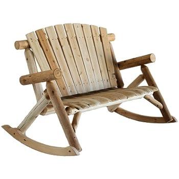 Lakeland Mills Cedar Log Rocking Love Seat, Natural (Discontinued By  Manufacturer)