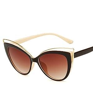 AMAZZANG-Womens Fashion Vintage Retro Cat Eye UV400 Sunglasses Eyewear Shades Eye Glasses (BROWN+BEIGE FRAME)