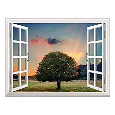 Removable Wall Sticker Wall Mural Tree in Sunset Creative Window View Wall Decor, That You Will Love, Incredible Piece of Art