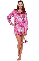 Del Rossa Womens Satin Nightshirt, Boyfriend Style Sleepshirt with Mask, XL Flower Clusters on Pink (A0746P90XL)