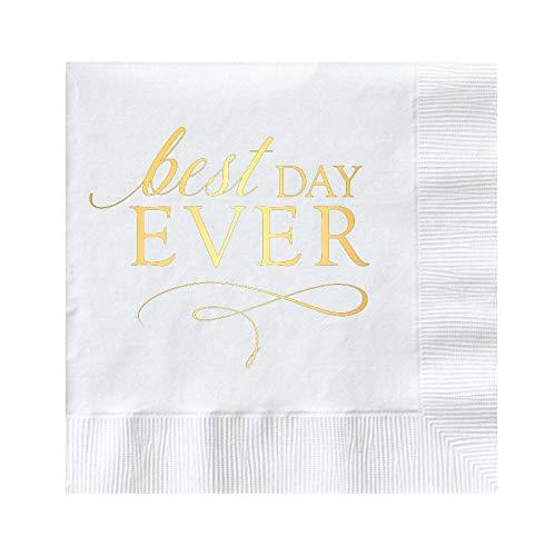 White Best Day Ever Napkins, Gold Foil Napkins for Wedding or Bridal Shower, Wedding Napkins, White and Gold Foil, Cocktail Napkins, Beverage Napkins, Best Day Ever