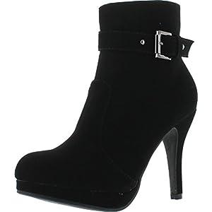Top Moda George-15 Women's Strap Buckle Stiletto Heel Ankle Booties Black 8.5