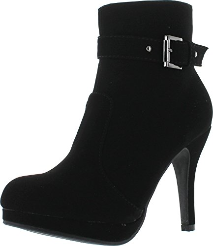 (TOP Moda George-15 Women's Strap Buckle Stiletto Heel Ankle Booties Black 7.5)