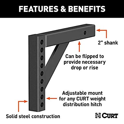 CURT 17121 Replacement Weight Distribution Hitch Shank, 2-Inch Receiver, 6-Inch Drop, 10-1/4-Inch Rise: Automotive