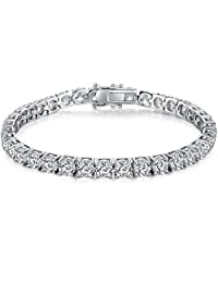 Han han 18k White Gold Plated 925 Sterling Silver Round-Cut Cubic Zirconia Tennis Bracelet