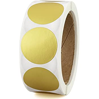"""1-1/2"""" Metallic Gold Color-Code Labeling Dots   Permanent Adhesive, Writable Surface — 500 Stickers per Roll"""