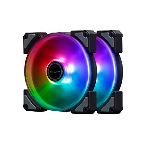 InWin Crown Addressable RGB Twin Fan Kit 120 mm Fan High Performance Cooling Computer Case Static Pressure Modular Fan with Adjustable RGB Controller, Black (Best Static Pressure Rgb Fans)