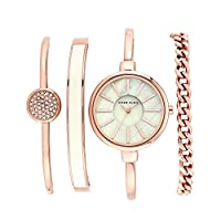 Deals on Anne Klein Womens Bangle Watch and Swarovski Crystal Bracelet Set