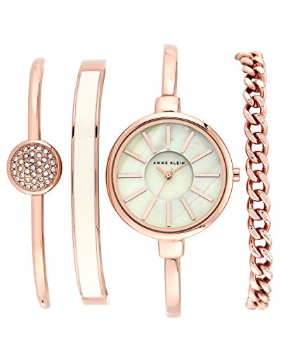 (Anne Klein Women's AK/1470RGST Rose Gold-Tone Bangle Watch and Swarovski Crystal Bracelet Set)