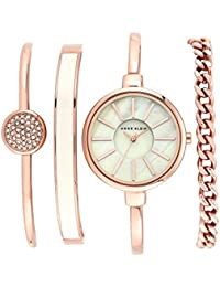 Women's AK/1470RGST Rose Gold-Tone Bangle Watch and Swarovski Crystal Bracelet Set