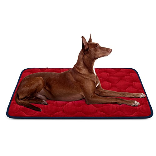 Hero Dog Large Dog Bed Mat 42 Inch Crate Pad Anti Slip Mattress Washable for Pets Sleeping (Red L)