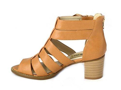 Ladies Womens - sandalias de plataforma con punta descubierta de tiras, hebilla o cuña, de tacón alto, en varios diseños y tallas 3, 4, 5, 6, 7, 8 Tan (13097)