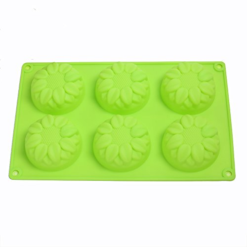 KALAIEN 6-Cavity Silicone Sunflower Muffin, chocolate, Jelly, Pudding, Dessert Molds, Randomly Color