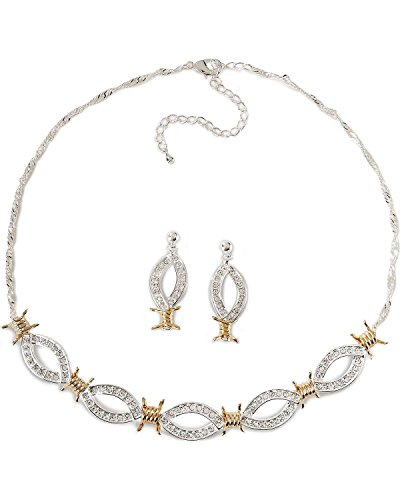 Montana Silversmiths Women's Barbed Wire and Rhinestones Necklace Set Silver One Size