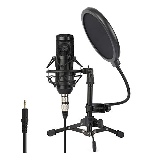 Desktop Recording Microphone Kit - ZINGYOU Condenser Microphone ZY-801+, Professional Studio Microphone include Sound Card, Desktop Cardioid Condenser Mic, PC Recording and Broadcasting(Matte Black)