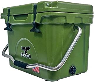 product image for ORCA ORCW020 Cooler with Single Flex-Grip Stainless Steel Handle for Simple Solo Portage, 20 Quart, White