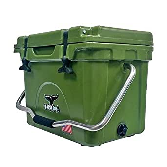ORCA ORCG020 Cooler with Single Flex-Grip Stainless Steel Handle for Simple Solo Portage, 20 Quart, Green