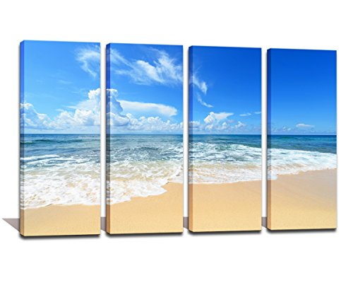 Noah Art-Modern Ocean Art, Blue Sky over the Beach Seascape Pictures on Canvas Print, 4 Piece Framed Ocean Wall Art for Living Room Wall Decor Ready to (Beach Framed Poster)
