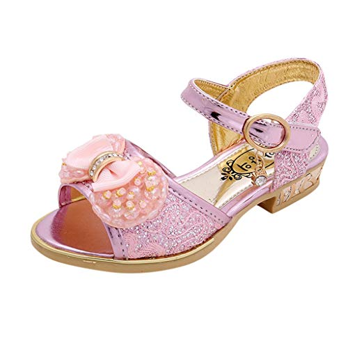 Tantisy ♣↭♣ Kids Girls Sequin Sandals Princess Crystal High Heels Shoes Mary Jane Wedding Party Dress Shoes Pink