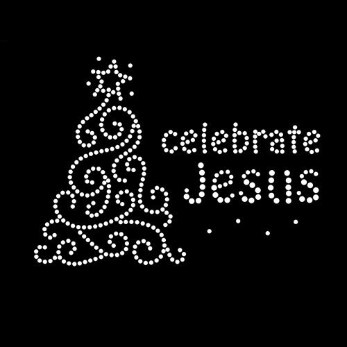 Celebrate Jesus Christmas Iron On Rhinestone Crystal Transfer by Jubilee Rhinestones