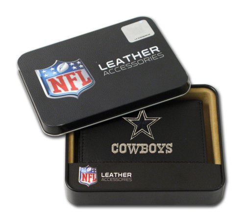 NFL Dallas Cowboys Embroidered Genuine Cowhide Leather Trifold Wallet Dallas Cowboys Embroidered Leather