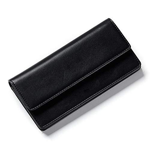 Button Female Wallet Black Leather Women Wallets Card Holder Ladies Clutch Purse Long,Black