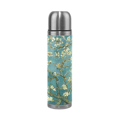 LEISISI Van Gogh Apricot Flower Oil Painting Stainless Steel Water Bottle Leak-Proof Vacuum Insulated Flask Pot Sport Double Wall Water Bottle PU Leather Travel Thermal Mug 17 Oz