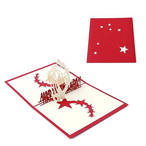Kofun biglietto d' auguri con busta, cielo stellato 3D Pop Up biglietto d' auguri di compleanno di Natale anno nuovo invito cartolina di taglio della carta regalo per San Valentino, festa rosa