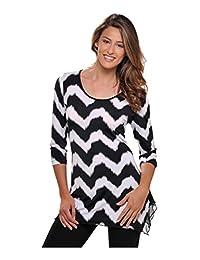 Nygard Women's Plus Size Slims 3/4 Sleeve Tunic Blk/Wht Zig Zag Print